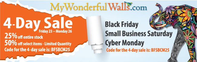25-50% off My Wonderful Walls Black Friday Cyber Monday Sale