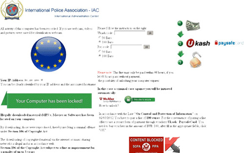International Police Association IAC Ransomware Message
