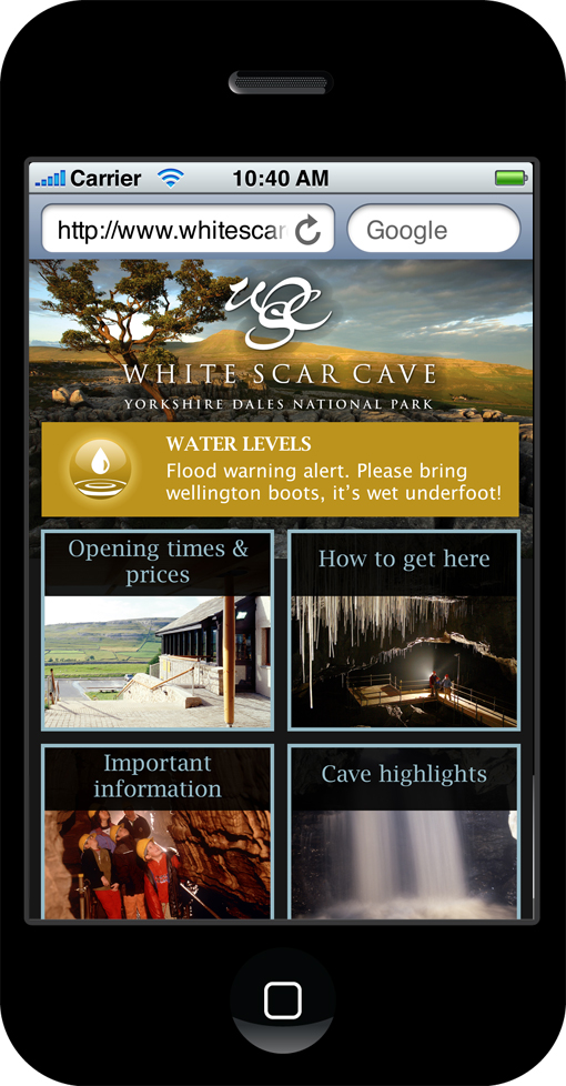 White Scar Cave mobile site-home page