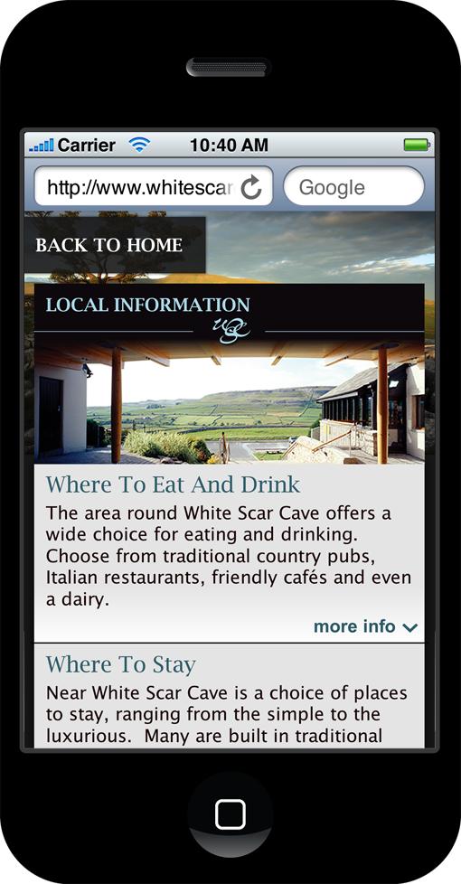 White Scar Cave mobile site