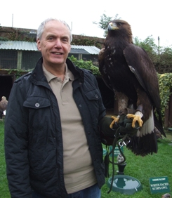 Steve Birchall with a Sea Eagle at Cheshire Falcon
