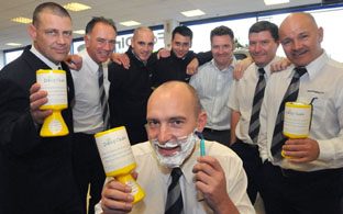 Staff at Jennings Ford took part in a final shave at the start of November