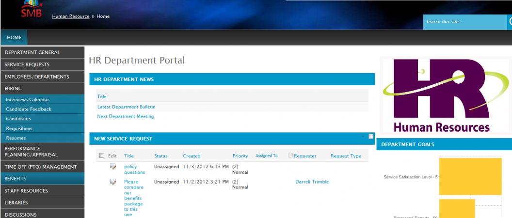HR Dept Portal