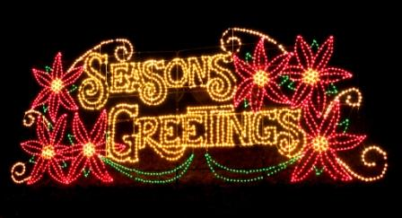 Seasons Greetings Display at Lake Lanier Islands' Magical Nights of Lights