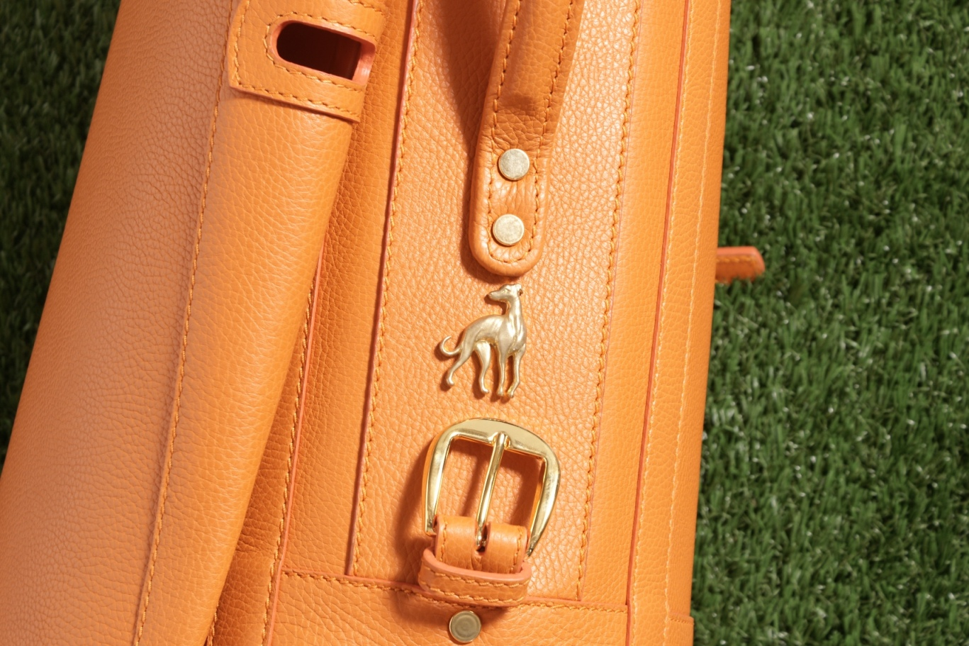 Luxury Golf Leather Bag Orange Claf (19)