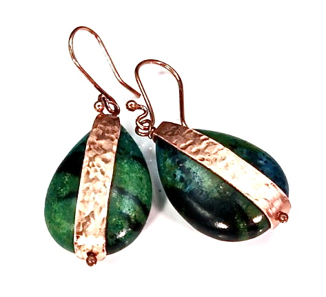 """""""Caribbean Dream"""" - Azurite Chrysocolla and Hammered Copper Earrings"""