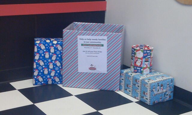 Food Drive Donation Box at Romeo's Pizza in Parma