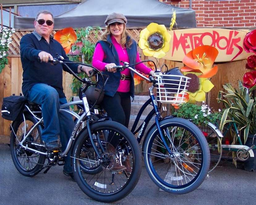 William and Elizabeth Shatner prepare for adventure on their Pedego e-bikes.
