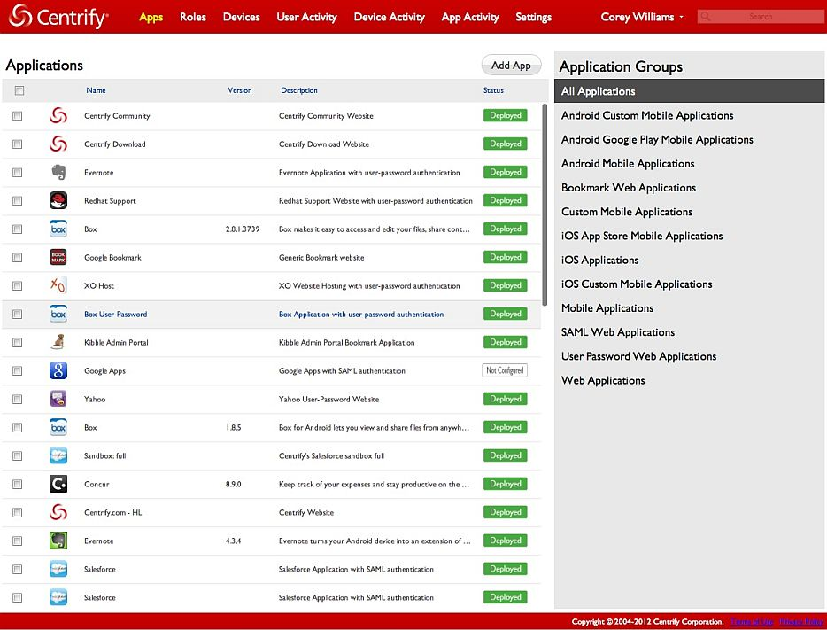 Centrify Cloud Apps Manager Interface