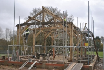 Bedales students help raise the roof of new Sports Pavilion