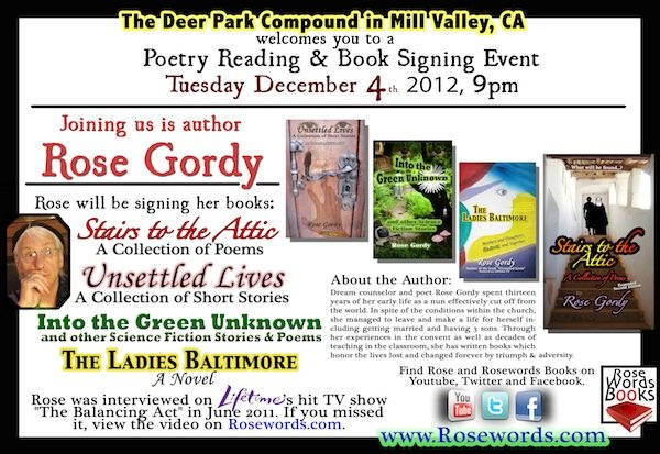 Rose Gordy Poetry Reading Flyer