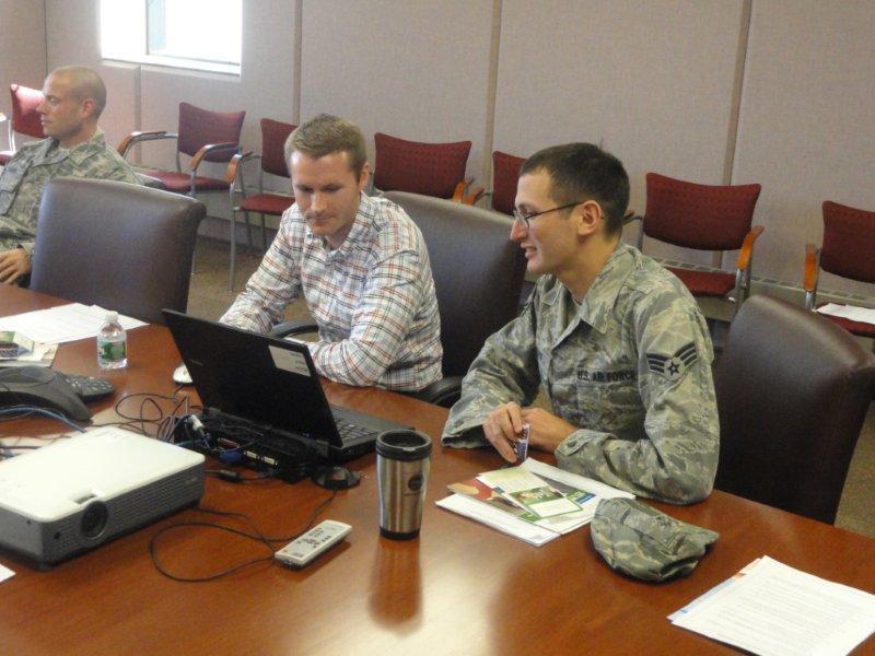 FPA member Austin Poirier working with US Air Force Reservist Adam Cohn
