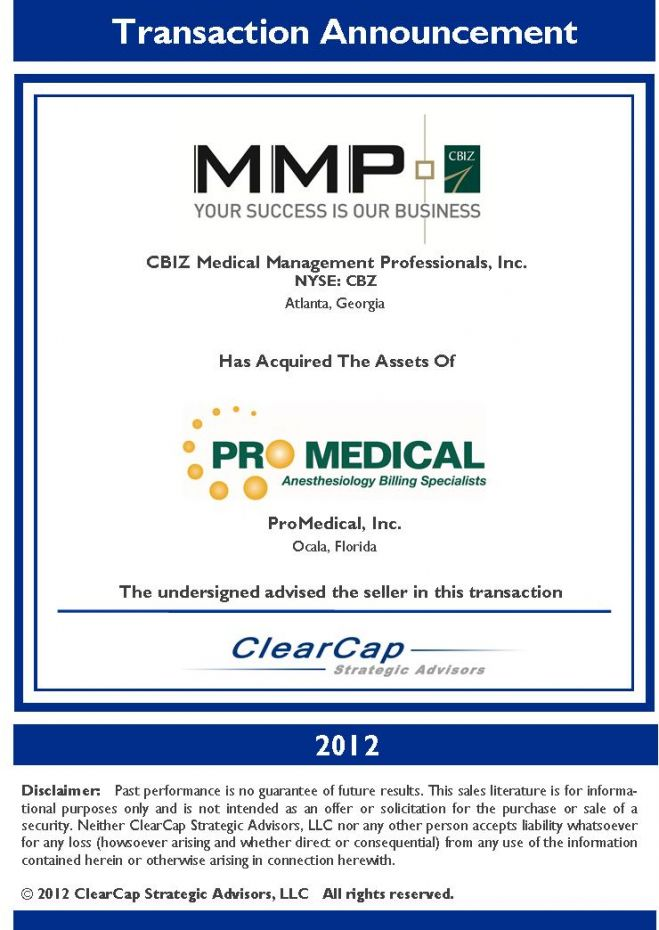 ClearCap Promedical CBIZ | MMP Tombstone