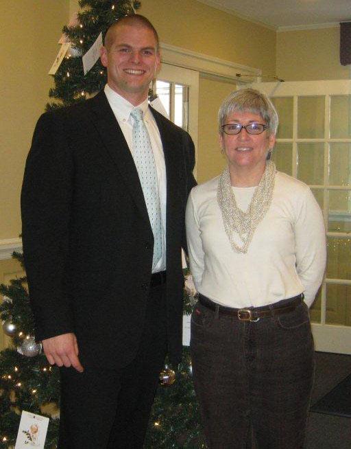 Bill Myers of Needham Bank with Bettie Kilcoyne, Dedham Educational Partnership
