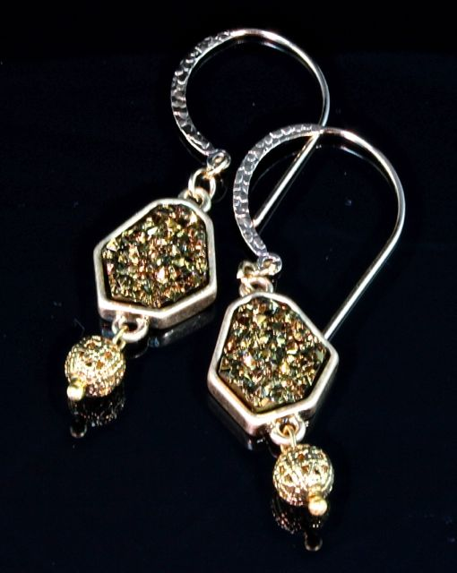 Titanium Coated Drusy Agate and Vermeil Earrings