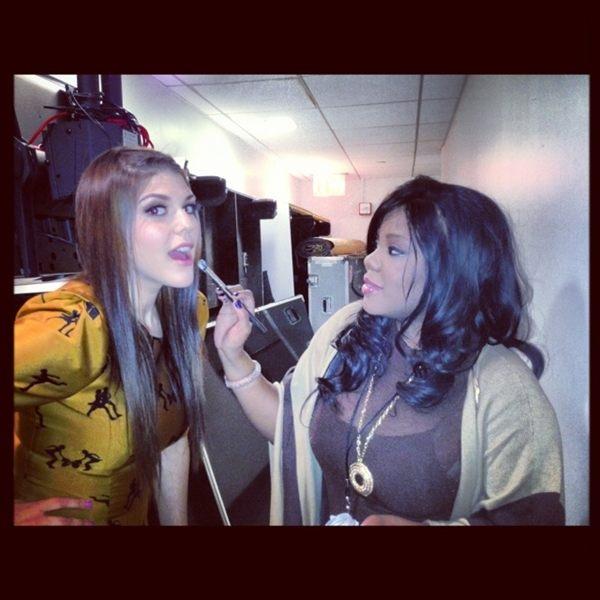 Actress Molly Tarlov backstage at MTV getting her