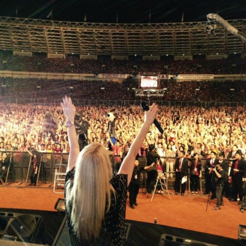 Planetshakers' Sam Evans is pictured leading worship Dec 8 in Jakarta, Indonesia