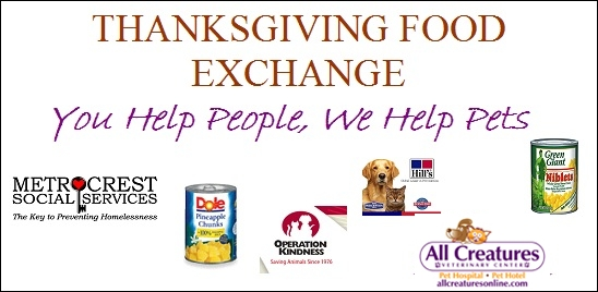 All Creatures food exchange benefiting Operation Kindness & Metrocrest Services