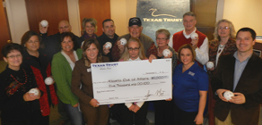 The Athens Kiwanis Received a $5,000 donation from Texas Trust Credit Union