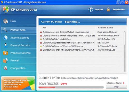 XP Antivirus 2013 main scan menu