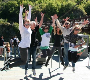 Yoga group jumping for joy!