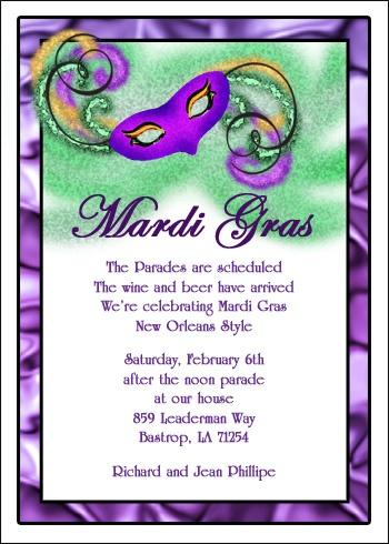 Mardi Gra Party Mask Invitation Cards