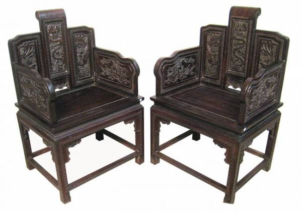 Pair of Chinese Zitan chairs