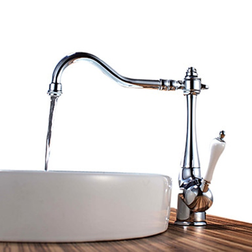 Chrome_Finish_Brass_Kitchen_Faucet_(White_Handle)