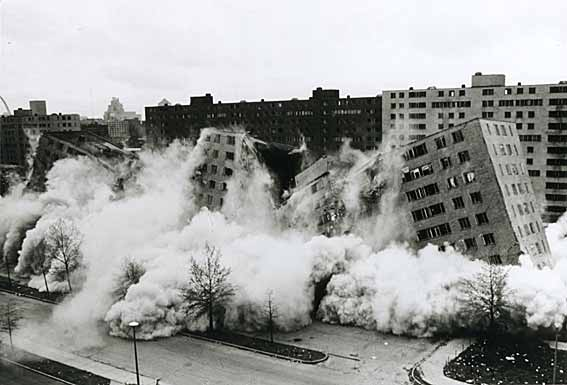 The dramatic implosion of Pruitt-Igoe.