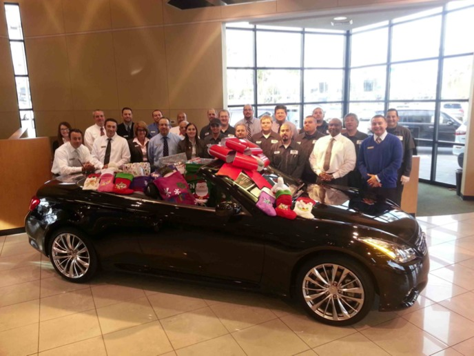 Donations filling the G convertible at Park Place Infiniti