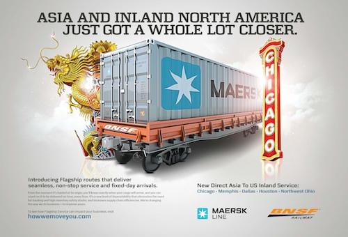 JK Design's award-winning ad for global leaders Maersk Line and BNSF Railway
