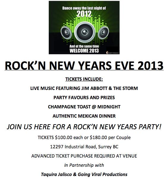 Surrey BC Rock'N New Years Eve 2013 event information