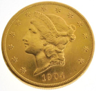 1904 $20 U.S. Liberty Head gold coin. Government Auction image.