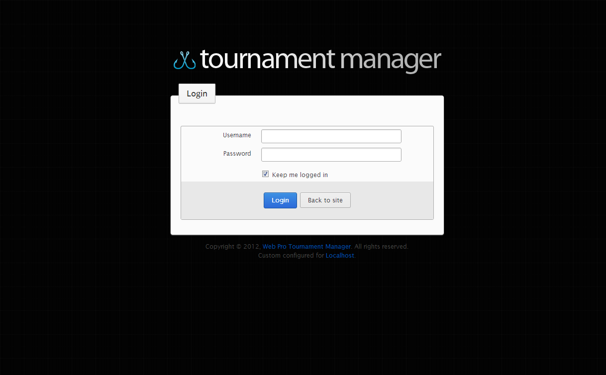 Fishing Tournament Software Login page