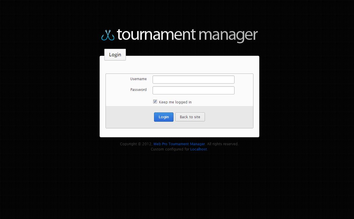 Fishing Tournament Software Login page