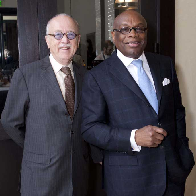Willie Brown and favorite haberdasher, Wilkes Bashford (l).Give@ goodwillsf.org.