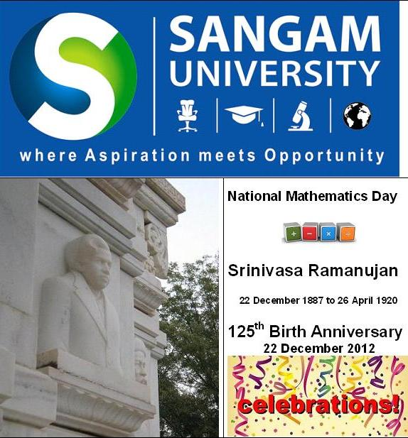 National Mathematics Day 2012 - Sangam University Bhilwara