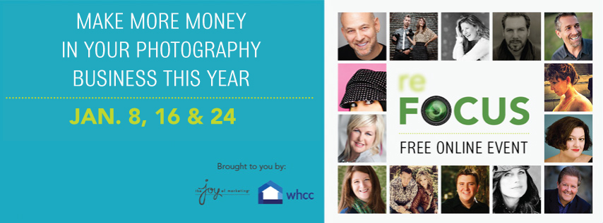 Join 13 top photography pros Jan 8, 16 & 24 for free education