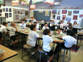 Saint Alphonsus Liguori students participate in art class.