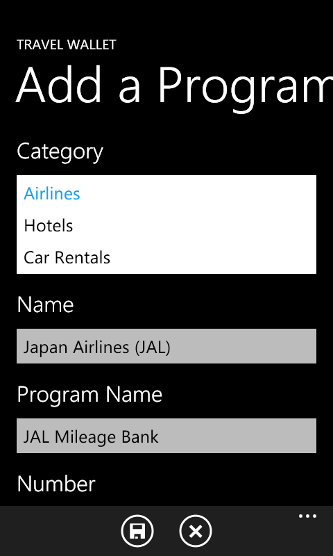 Adding new program information is simple with Travel Wallet.