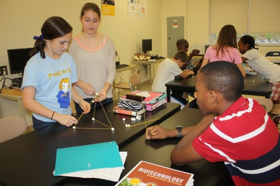 Members of RMS' FFA chapter participate in a team-building activity.