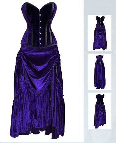 Blue Velvet Corset Top with Matching Long Skirt