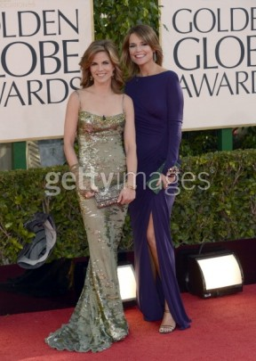 Natalie Morales (left) in Jean Fares Couture