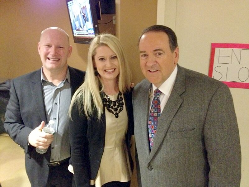 Planetshakers' Russell & Sam Evans are pictured with Mike Huckabee Jan. 12
