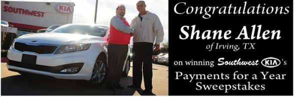 Shane Allen Winner of Southwest KIA Payment for a Year