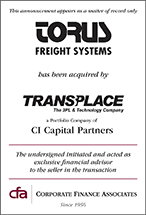 Torus Freight acquired by Transplace LLC