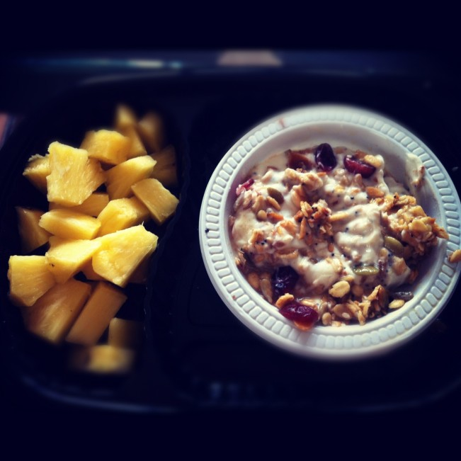 Granola Yoghurt and Pineapple