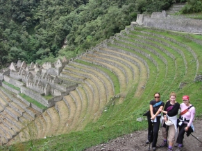 Inca Trail hikers and ruins