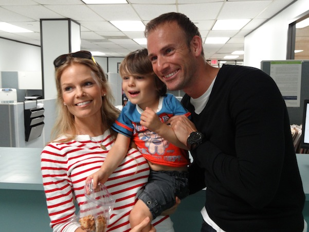 Michael Grieco and his family celebrate the filing at Miami Beach City Hall.