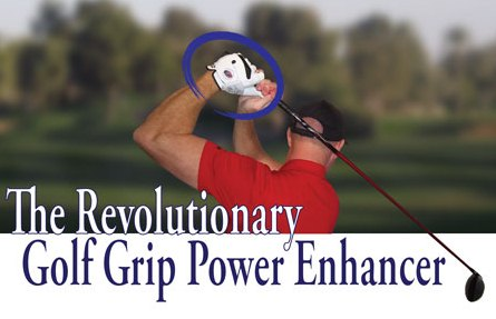 The Eagle Claw fitted to golfer's hand for positive grip pressure through swing.